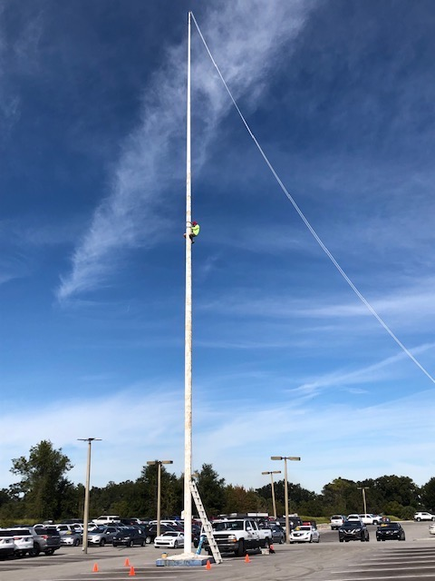 100 ft Flagpole Maintenance - Refinished flagpole and truck system